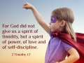 For God did not give us a spirit of timidity, but a spirit of power, of love and self-discipline.